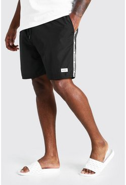 Black Big And Tall Mid Length MAN Tape Swim Short