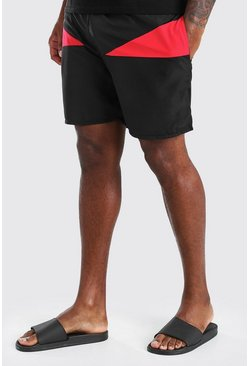 Black Big And Tall Mid Length Colour Block Swim Short