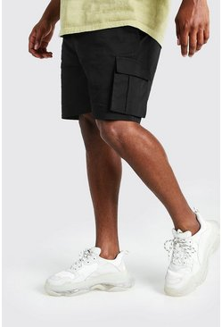 Black Big And Tall Slim Fit Cargo Chino Short