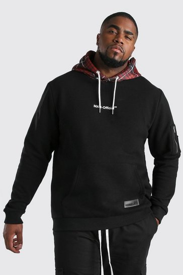 Black Big And Tall Boxed Hoodie With Contrast Hood