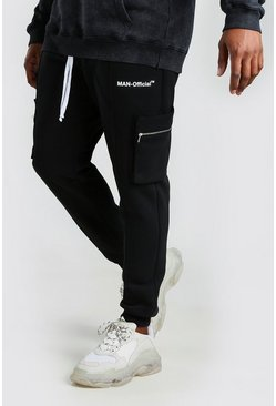 Black Big And Tall Skinny Utility Jogger With Pintuck