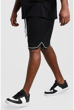 Black Big And Tall Relaxed Fit Sports Hem Short