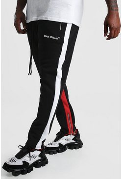 Black Big And Tall Skinny Jogger With Contrast Panel
