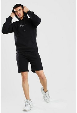 Black MAN Signature Embroidered Hooded Short Tracksuit