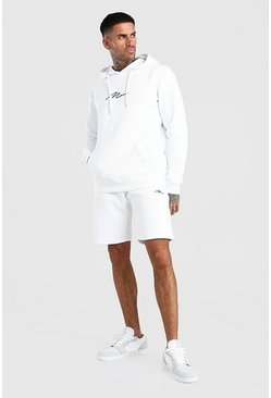 White MAN Signature Embroidered Hooded Short Tracksuit