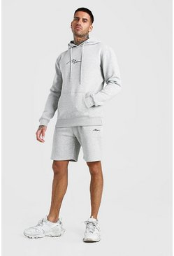 Grey marl MAN Signature Hooded Short Tracksuit