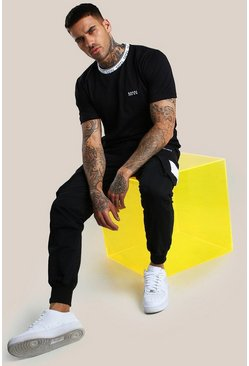 Black Original MAN Ribbed Collar T-Shirt