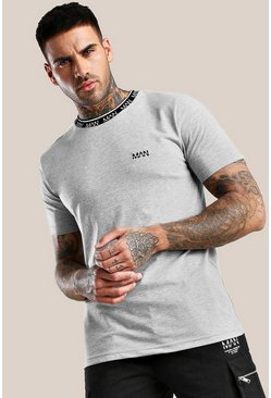 T-shirt con colletto a coste Original MAN, Grigio