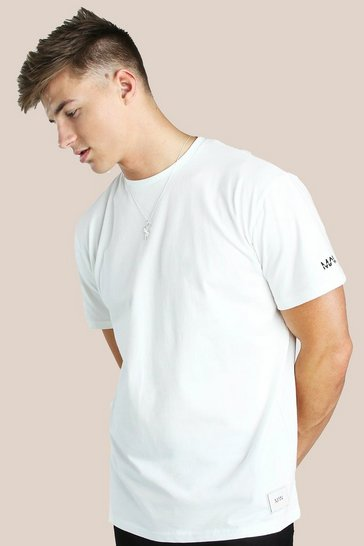 White Original MAN Sleeve Embroidered Loose Fit T-Shirt