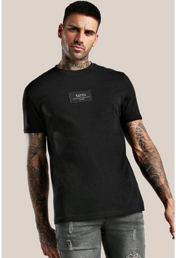 Black Original MAN T-Shirt With Sewn On Patch