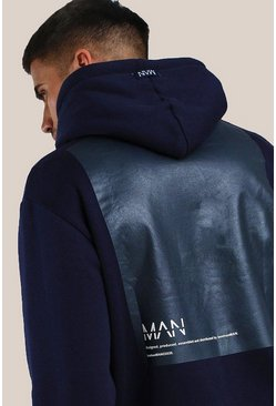 Navy Original MAN Loose Fit Hoodie With Back Vinyl Print