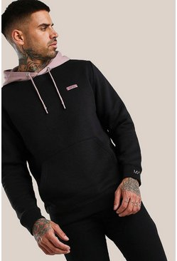 Black Original MAN Contrast Hood Hoodie With Embroidery