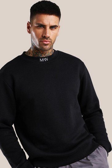 Black Original MAN Extended Neck Embroidered Sweatshirt