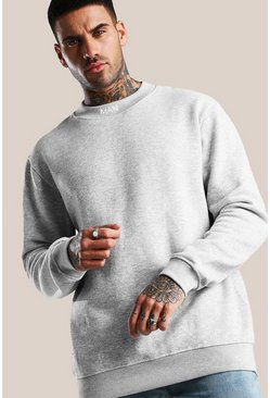 Grey marl Original MAN Loose Fit Neck Embroidered Sweater