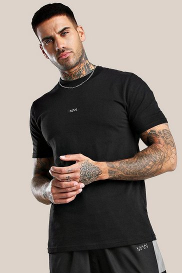 Black Original MAN Woven Label T-Shirt With Extended Neck