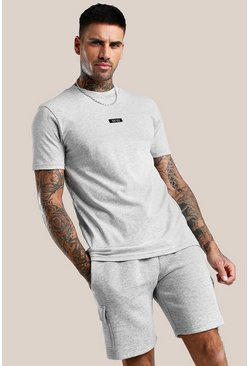 Grey marl Original MAN Woven Label Extended Neck T-Shirt