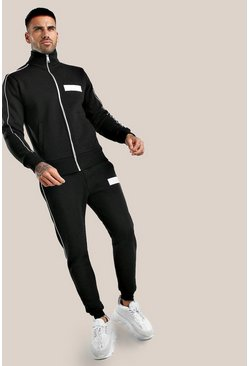 Black Original MAN Embroidered Skinny Fit Tracksuit