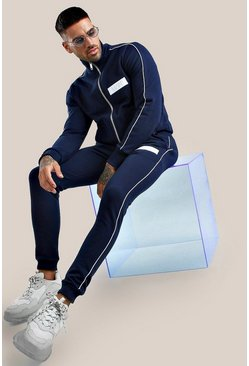 Navy Original MAN Embroidered Skinny Fit Tracksuit