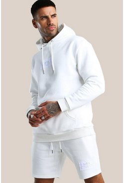 White Official MAN Print Short Hooded Tracksuit