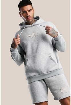 Grey marl Official MAN Print Short Hooded Tracksuit