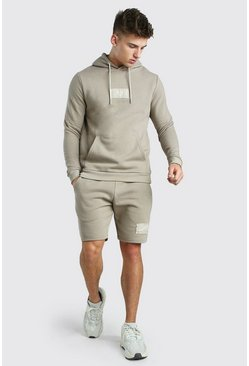 Taupe Official MAN Print Short Hooded Tracksuit
