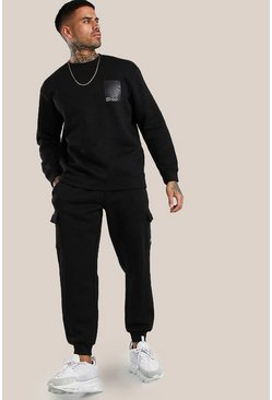 Black Original MAN Loose Fit Tracksuit With Vinyl Print