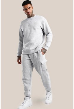 Grey marl Original MAN Print Loose Fit Cargo Tracksuit