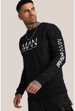 Black Original MAN Chest & Sleeve Print Sweatshirt