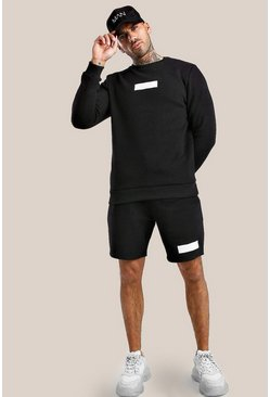 Black Original MAN 3D Embroidered Short Sweater Tracksuit