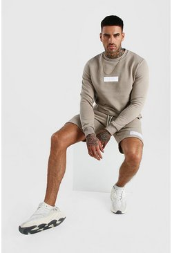 Taupe Original MAN 3D Embroidered Short Sweater Tracksuit