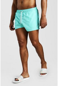 Mint Plain Short Length Swim Shorts
