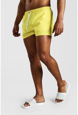 Yellow Plain Short Length Swim Shorts