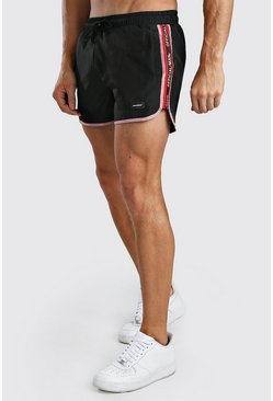 Black MAN Official Runner Swim Short With Tape