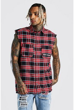 Red MAN Official Sleeveless Check Shirt
