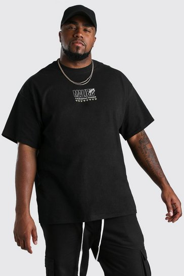 Black Big And Tall Malibu Surf Print T-Shirt