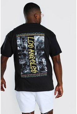 Black Big And Tall Los Angeles Back Print T-Shirt