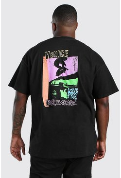Black Big And Tall Venice Back Print T-Shirt