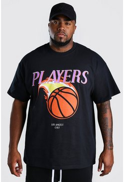 Black Big And Tall Players Basketball T-Shirt