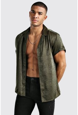 Khaki Short Sleeve Revere Collar Textured Satin Shirt