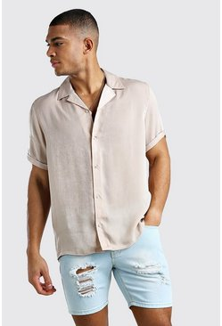 Champagne Oversized Short Sleeve Revere Textured Shirt