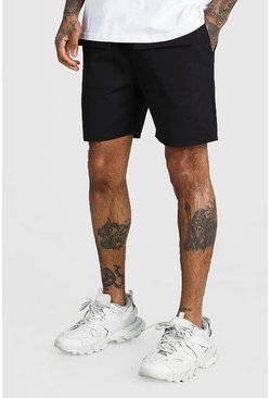 Black Belted Twill Cargo Shorts