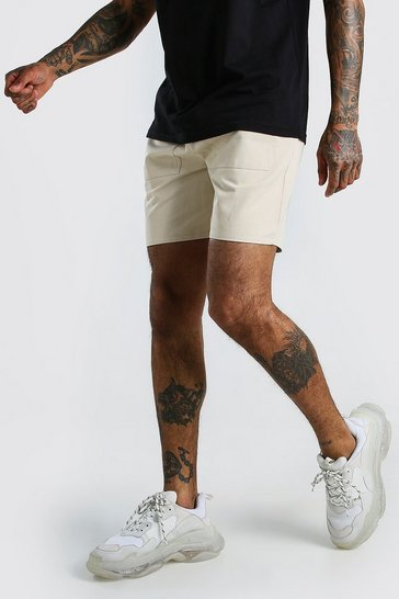 Sand Belted Twill Cargo Shorts