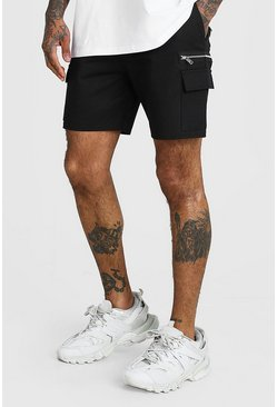 Black Twill Cargo Short With Zips