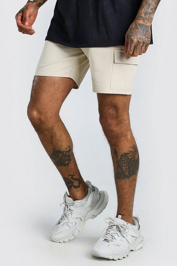 Sand Twill Cargo Short With Zips