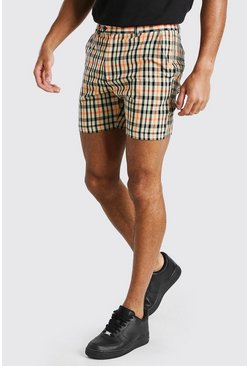 Neon-orange Fixed Waistband Check Belted Mid Length Short