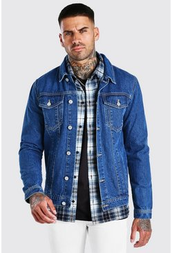 Giacca in denim stile western regular fit, Blu medio