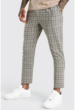 Brown Slim Fit Checked Cropped Trouser With Pleat