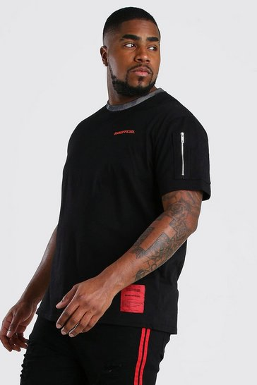 Black Big And Tall MAN Official Camo Block T-Shirt