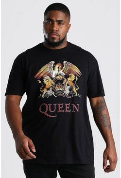 Camiseta con estampado de Queen Big & Tall, Negro