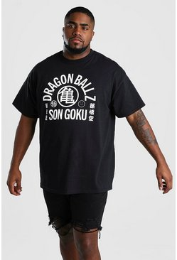 Black Big And Tall Dragonball Z Text T-Shirt